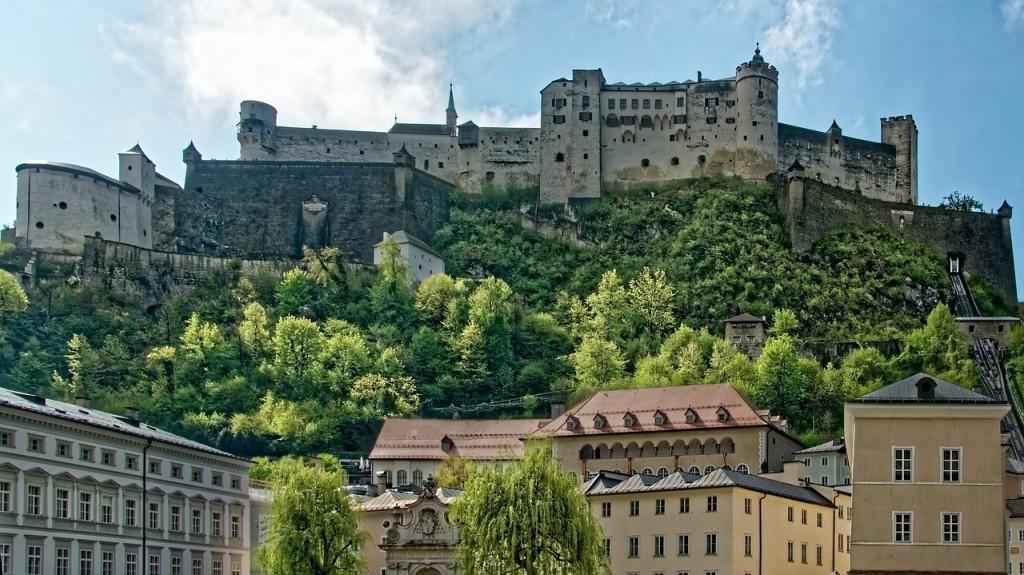 austria, salzburg, town castle